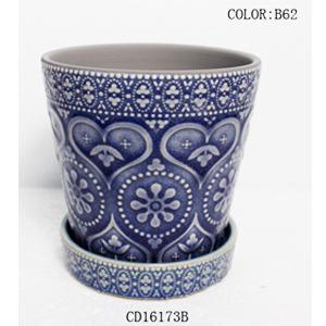 Maceta de ceramica con plato diseño grabado en color azul de 13x13x12cm