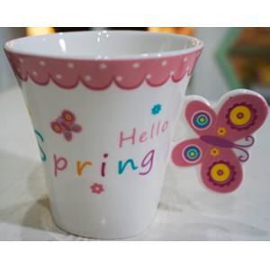 Taza para café Americano c/asa diseño mariposa en tonos rosas