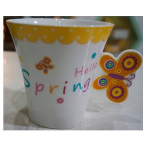 Taza para café Americano c/asa diseño mariposa en tonos azules