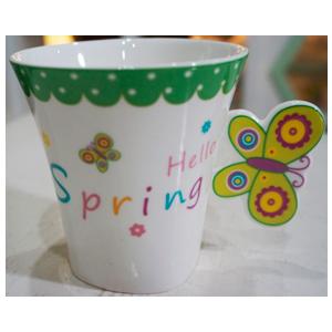 Taza para café Americano c/asa diseño mariposa en tonos verdes