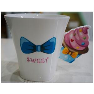 Taza para café Americano diseño Muffin en tonos rosas