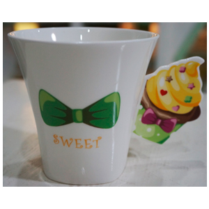 Taza para café Americano diseño Muffin en tonos amarillos