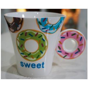 Taza para café Americano con asa diseño Rosquilla rosa de