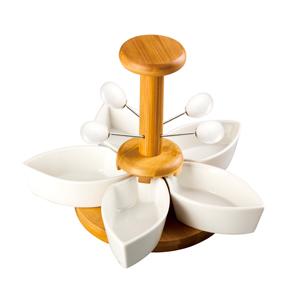 Base de madera c/5 botaneros de porcelana y palillos de 25x25x16cm