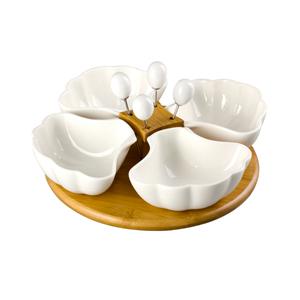 Base de madera c/4 botaneros de concha de porcelana y palillos de 25x25x5cm