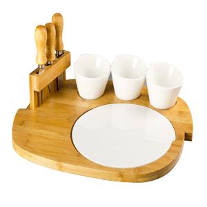 Base d/madera c/3 tazones, plato de porcelana y tenedores p/quesos de 40x32x8cm