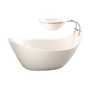 Ensaladera de porcelana con base y tazon p/salsa de 32x23x20.5cm
