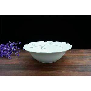 Tazón de porcelana blanca con grecas de 24cm