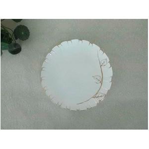 Plato de porcelana blanca con filo dorado de grecas de 27cm