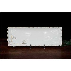 Plato de porcelana blanca c/hojas y filo dorado de 39cm