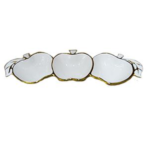 Botanero triple de porcelana beige con filo dorado diseño manzanas de 38cm