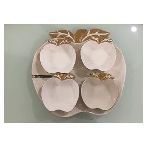 Charola de porcelana beige con 4 botaneros  y filo dorado diseño manzana de 33cm