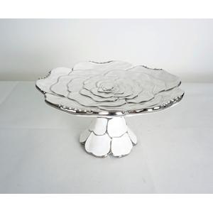 Frutero de porcelana blanca diseño rosa con orilla plateada de 33x33x14cm