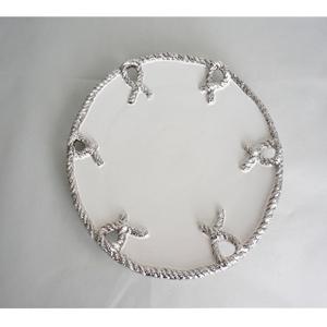Plato redondo con nudos platas en la orilla de 33x33x3.5cm