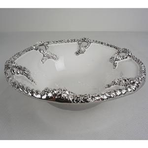 Tazon redondo con nudos platas en la orilla de 33x33x9.5cm