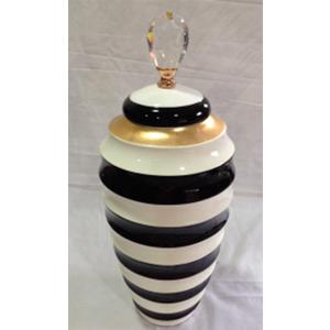 Tibor de ceramica ondulado blanco con negro con tapa de 20x51cm