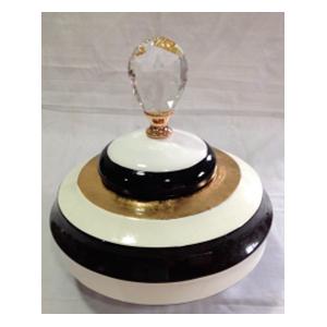 Tibor  de ceramica ondulado blanco con negro con tapa de 24x24.5cm