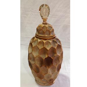 Tibor de ceramica con tapa diseño panal en dorado de 21x15.5x48cm