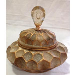 Tibor  de ceramica con tapa diseño panal en dorado de 27.5x18.5x27.5cm