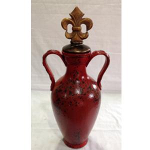 Tibor  de ceramica color vino con tapa flor deliz oro de 24x20x54cm