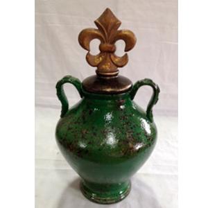 Tibor de ceramica color  verde con tapa flor deliz oro de 21.5x21.5x38.5cm