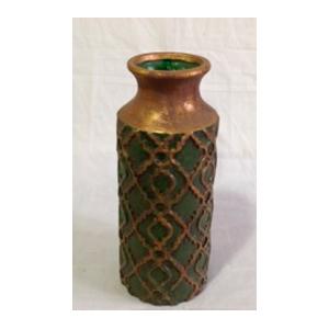 Florero de cerámica diseños rombos en verde con dorado de 15x36.5cm