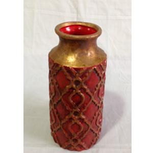 Florero de cerámica diseños rombos en rojo con dorado de 15x28.5cm