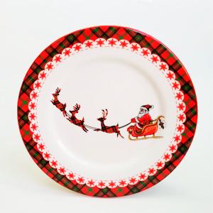 Plato de ceramica blanca con diseño navideño de 23x23x2cm