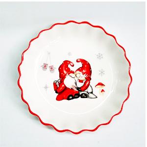 Plato de ceramica ondulado con estampado de duendes navideños de 22x22x3cm