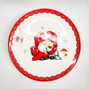 Plato de ceramica blanca con diseño de duendes navideños de 26x26x2cm