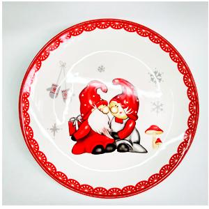 Plato de ceramica blanca con diseño de duendes navideños de 30x30x3cm