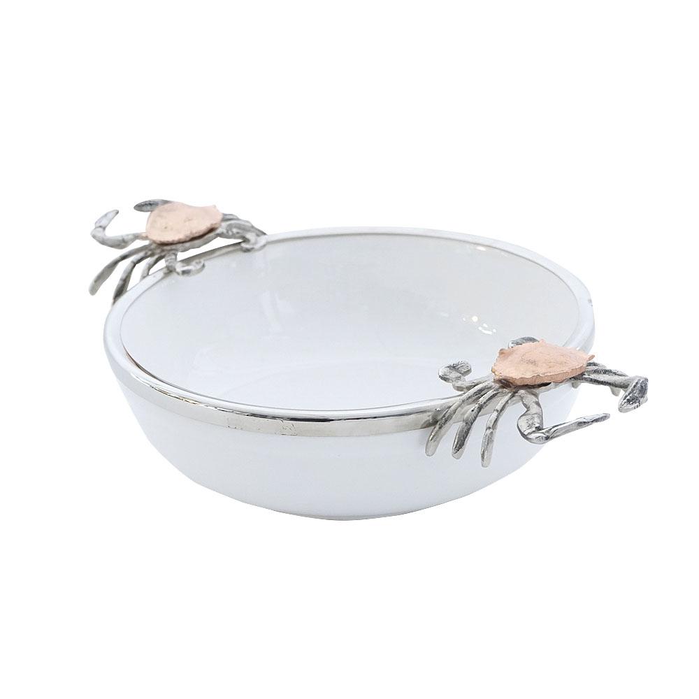 Bowl de porcelana blanca con orilla de metal y asas plateadas diseño cangrejo de 40x26x12cm