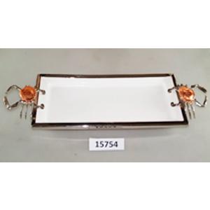 Charola rectangular de porcelana blanca con orilla de metal y asas plateadas de 52x20x6cm