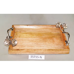Charola rectangular de madera con asas de metal diseño hojas de  40x26x10cm
