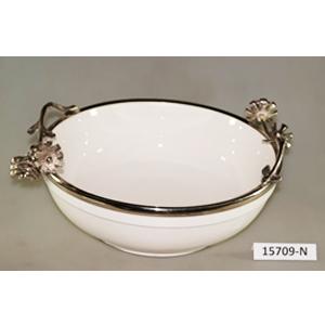 Bowl de porcelana blanca con orilla de metal y asas diseño guía de flores de 42x34x16cm