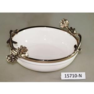 Bowl de porcelana blanca con orilla de metal y asas diseño guía de flores de 36x26x14cm