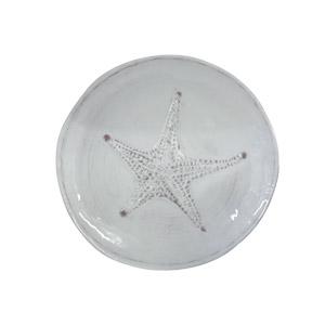 Plato  de melamina blanco con diseño de Estrella de mar de 23cm