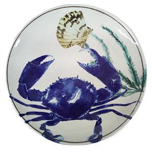 Plato de melamina blanco c/azul con estampado de Cangrejo de 23cm