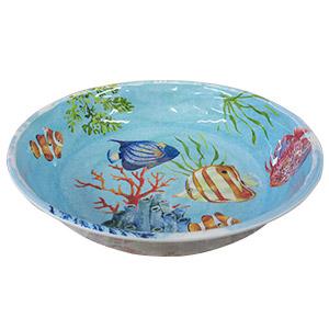 Bowl de melamina azul c/estampado peces de 33cm