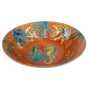 Bowl de melamina naranja c/estampado de caracoles de 29cm