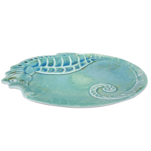 Charola de melamina azul diseño caballito de mar  de 41cm