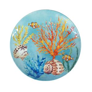 Plato de melamina azul c/estampado de coral de 28cm