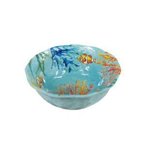 Tazon de melamina azul c/estampado de coral de 15cm