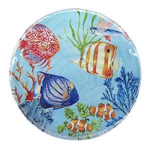 Plato de melamina azul con estampado de peces de 28cm