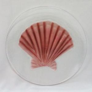 Plato  diseño concha ambar de 20x20x2cm