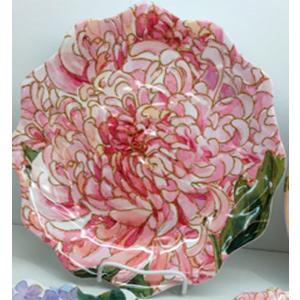 Plato de melamina diseño flor rosa de 30x30x2cm