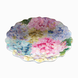 Plato de melamina diseño flores de colores de 22x22x2cm