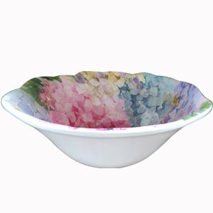 Tazón diseño flores de colores de 19x19x7cm