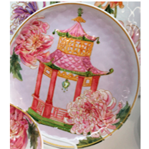 Plato de melamina diseño Monumento chino de 22x22x3cm