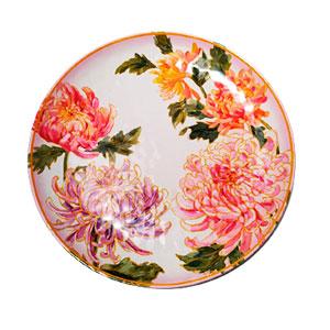 Plato de melamina blanco con flores rosas de 28x28x3cm